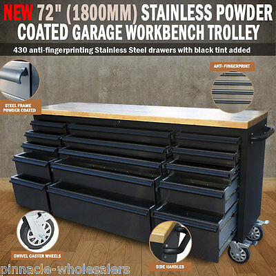 "NEW 72"" 1800mm Stainless Powder Coated Garage Work Bench Tool Trolley Wheels"