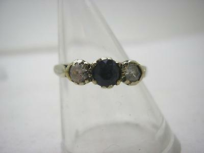 Vintage 1952 HM 9ct Gold Blue & White & Sapphire 3 Stone Ring size L