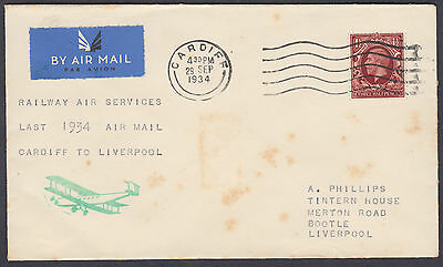 Last 1934 Airmail Cardiff to Liverpool; Railway Air Services