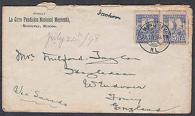 1898 Mexico, Monterey CDS to Tring (backstamp), Herts, England
