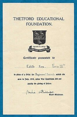 1918 Thetford Girl's Grammar School Certificate - Edith Fox For French