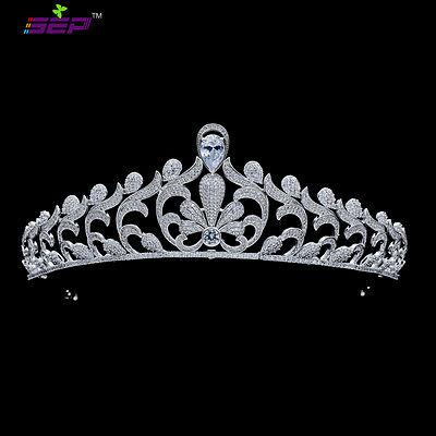 New Leaves CZ Cubic Zirconia Bridal Wedding Tiara Crown Hair Accessories TR16229