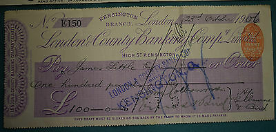 An endorsed/cleared Cheque of London & County Banking Company Ltd 23/10/1906