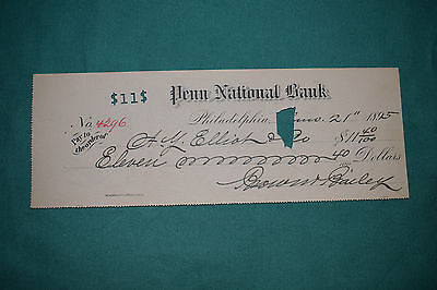 An endorsed/cleared Cheques of the Penn National Bank, Philadelphia dated 1895