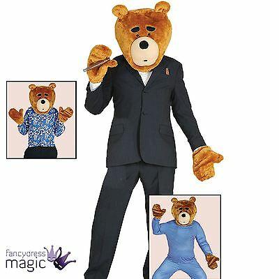 Adult Ted Teddy Bear Overhead Mask Head And Gloves Fancy Dress Costume Accessory