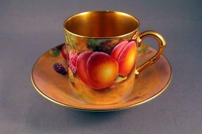Royal Worcester Hand Painted Fruit Pattern Coffee Can  & Saucer Signed C. Bowen