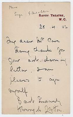 HENRY LYTTON, Gilbert and Sullivan actor, SAVOY THEATRE autograph letter 1902