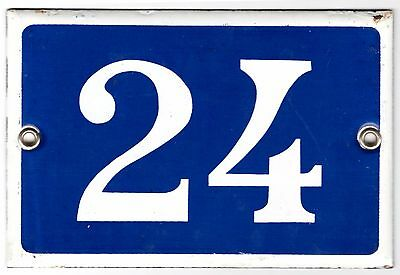 Old blue French house number 24 door gate plate plaque enamel metal sign steel
