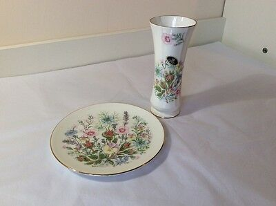 Wild Tudor, Aynsley China - Vase & Collectors Plate - New, But Not Boxed