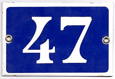 Old blue French house number 47 door gate plate plaque enamel metal sign steel