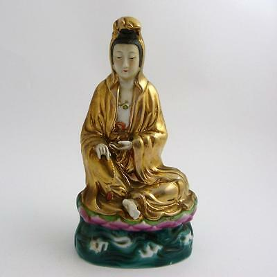 Chinese Porcelain Guanyin Seated On Lotus Throne, Republic Period