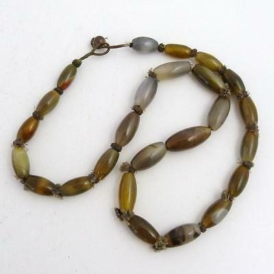 Vintage South East Asian Dzi Agate Bead Necklace