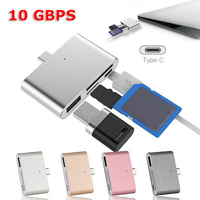 Multifunction 4-in-1 USB OTG/TF/SD Smart Card Reader Adapter with Type C 10 GBPS