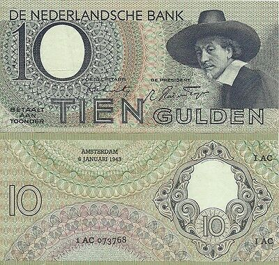 J-15-2, Netherlands 10 Gulden 1943 P-59, Ef/circulated