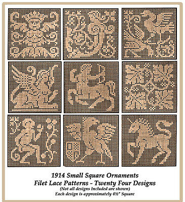 1914 Filet Lace Chart Pack Small Square Insertions