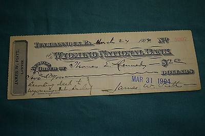 An endorsed/cleared Cheque Wyoming National Bank, Tunkhannock, PA. March 27 1904