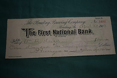 An endorsed/cleared Cheque The First National Bank - April 1903, Reading Brewery