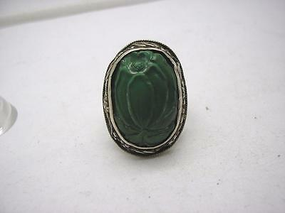 Antique Chinese Silver & Natural Carved Turquoise Large Ring size R