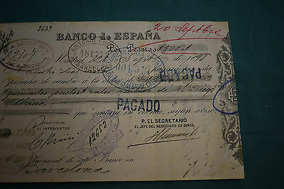 An endorsed/cleared Cheque Banco De Espana 16th September 1898 Lovely example.