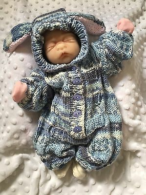 """Hand Knitted Bunny Outfit For 15"""" Preemie Reborn Baby Doll"""