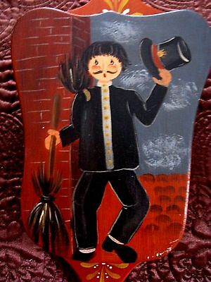 Primitive Folk Art Chimney Sweeper Chap Hand Painted Wood Wall Hanging