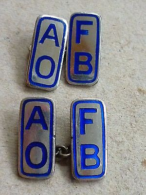 VINTAGE SILVER ENAMEL CUFFLINKS ANCIENT ORDER OF FROTH BLOWERS A.O.F.B. c1920's