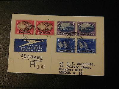 Swaziland Stamp SG 39/41 set 3 pairs on Post Card FDI  Airmail to UK Reg No 900.