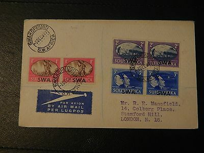 S.W.A Stamp SG 131/33 set 3 pairs on FDI post card Airmail to the U.K. Opt T 30.