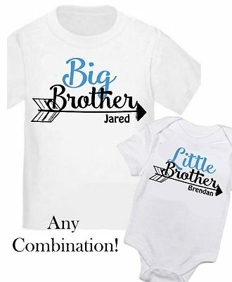 2 Personalized Big Little Brother Bow Arrow Kid Shirt T-Shirt ANY SIZE/YOUR NAME