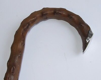 Antique Brussel Sprout Wood Walking Stick / Cane with Silver Top