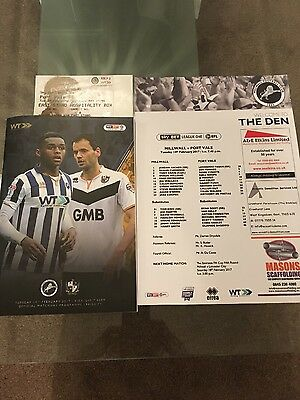 millwall v port vale - sky bet league1 - match ticket & team sheet 2017,,,