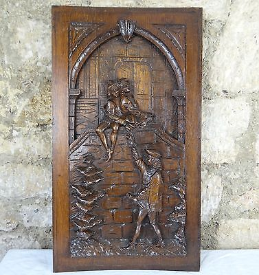 Large French Antique Deep Carved Architectural Panel Oak 19th Middle Age