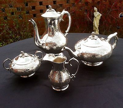 Stunning Antique Art Nouveau Chased Footed Silver Plated 4pc Tea Set