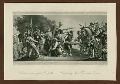 Christ on the way to Golgatha, Stahlstich steel engraving ca. 1870
