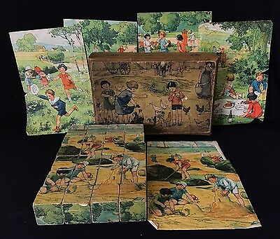 Antique Wooden Picture Cube Blocks Six Puzzles - In Box