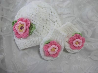 Hand Knitted Baby Hat And Mitten Set White Lacy Pink Flower Age Newborn -18/24 M