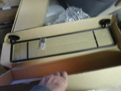 """24"""" Wrought Iron Shelf w glass Oil Rubbed Bronze Finish - screws included NEW"""