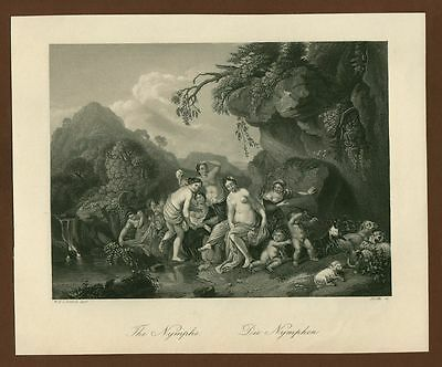 Nymphen,  Stahlstich steel engraving ca. 1870