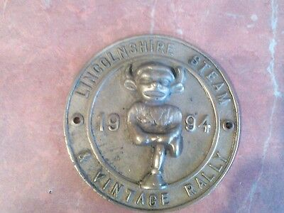 Lincolnshire  Steam Vintage Rally 1994  Brass Plaque
