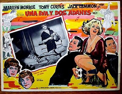 SOME LIKE IT HOT Orig Mexican Lobby Card MARILYN MONROE in Bed JACK LEMMON Drag
