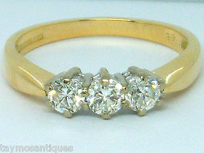 18k 18ct solid gold 0.65ct Diamond trilogy Engagement  ring size N  Hallmarked