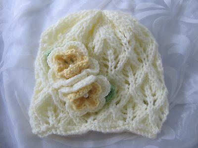 Hand Knitted Baby Girls Beanie Hat Lemon Lacy Lemon Flower Size Nb - 24 Mths New
