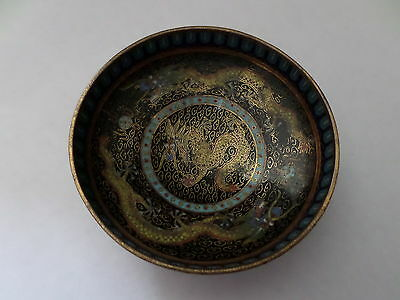 19th century China Cloisonne dish with dragons & flaming pearls