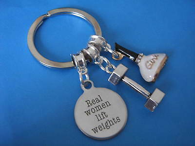 Ladies Weight Lifting Keyring Woman Dumbbell Women Lift Weights Best Friend Gift