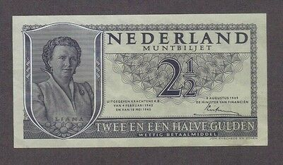 1949 2 1/2 Gulden Netherlands Currency Banknote Note Money Bank Bill Cash Europe