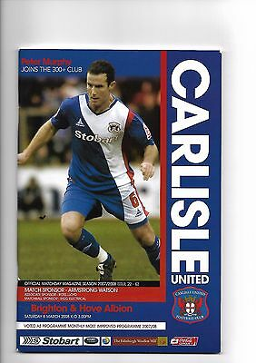 Carlisle United  v  Brighton & Hove Albion, 8th March 2008
