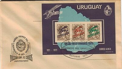 Uruguay:1970:Air,Stamp Day,M/S,On FDC