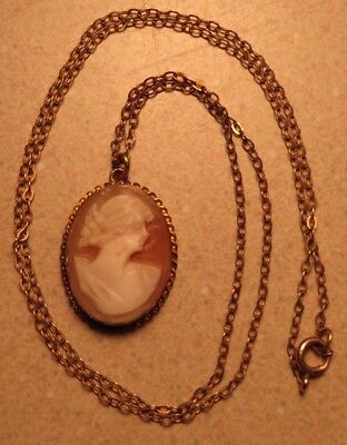 Antique Carved Cameo 1/20 12k Yellow Gold Necklace Pendant Beautiful Face