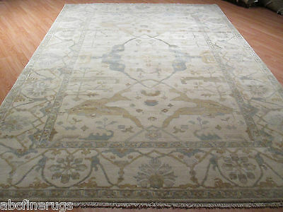 8x11 Oushak MUTED Allover-Pattern Vegetable Dye Handmade-knotted Wool Rug 580364