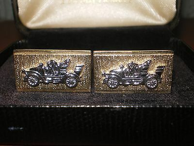 Lovely Pair of Vintage/Retro Gold/Silver Plated Vintage Car Cufflinks - Boxed